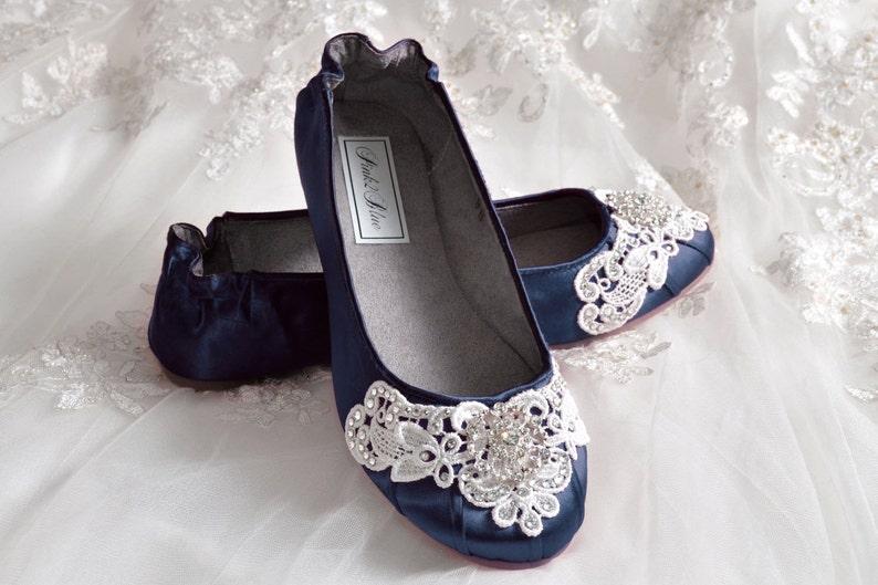 d71b7ae64160 Navy Blue Wedding Shoes Ballet Flats 250 Colors Vintage
