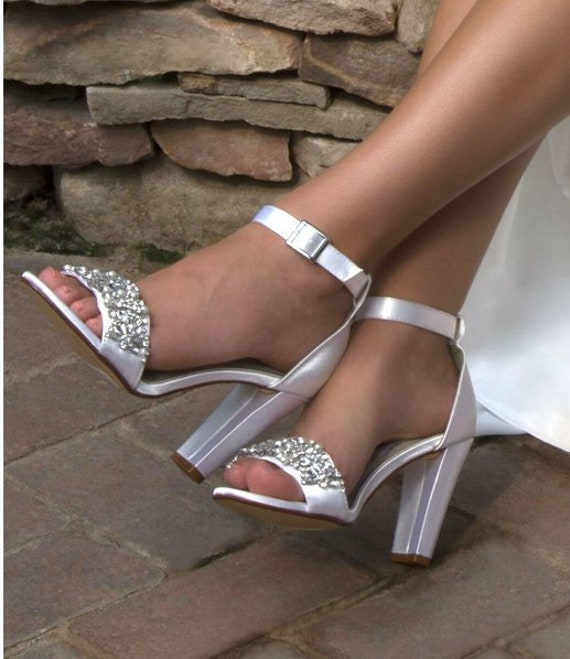 803d84d9363 Wedding Shoes FREE Custom Colors Crystals Satin Strap