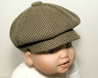 The Lucas Baby Boy Hat, Ring Bearer Hat, houndstooth-cotton blend, Baby Boy Shoes, Handmade by Pink2Blue on Etsy.