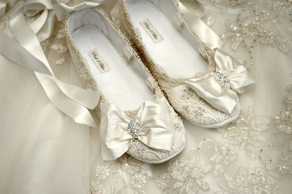Womens Wedding Shoes Wedding Ballet Flat Wedding Vintage  179473e37