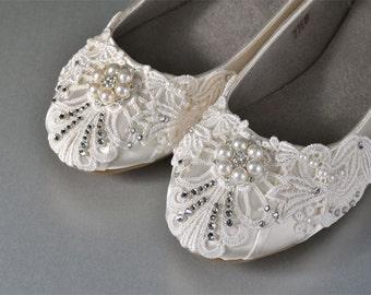 Lace Wedding Shoes - Wedding Ballet Flats, Bridal Shoes,Wedding Shoes, Vintage Lace Wedding Shoes Women's Embellished Bridal Shoes Wedding