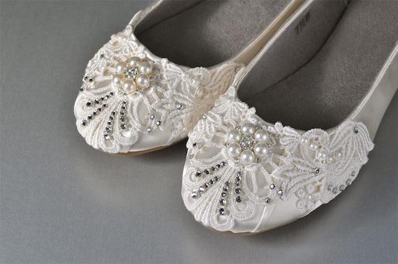 Lace Wedding Shoes Wedding Ballet Flats Bridal   Etsy