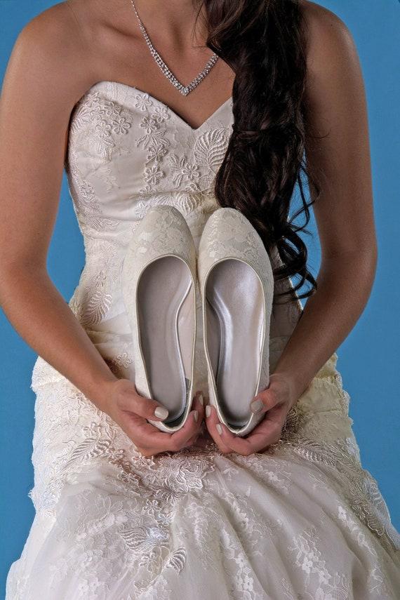 Bridal Wedding Flat Lace Comfort Shoes Free Custom Etsy