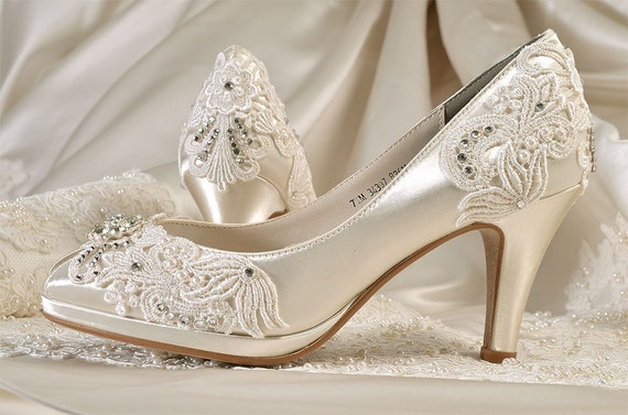 Womens Wedding Shoes-Free Custom ColorsVintage Lace Bridal  c31b46032