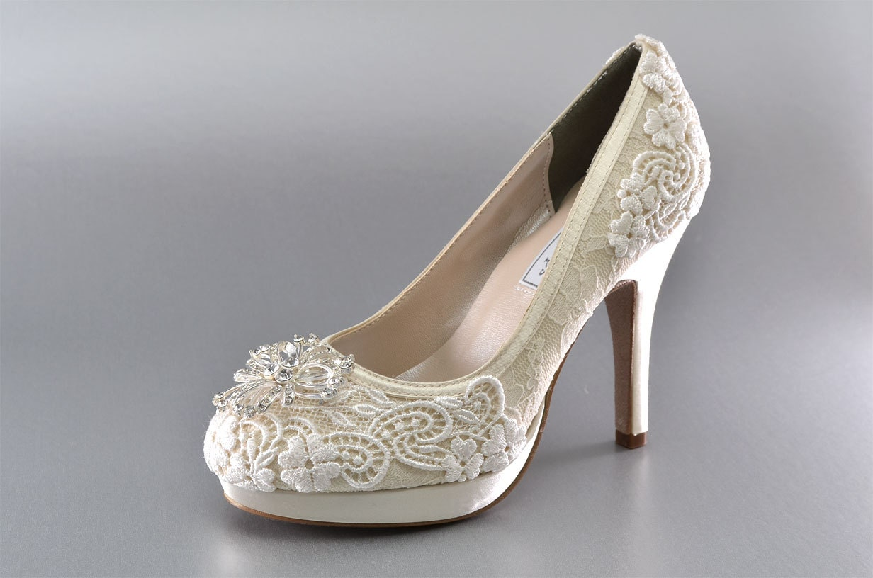Wedding Shoes Lace Covered Bridal Shoes Womens Wedding