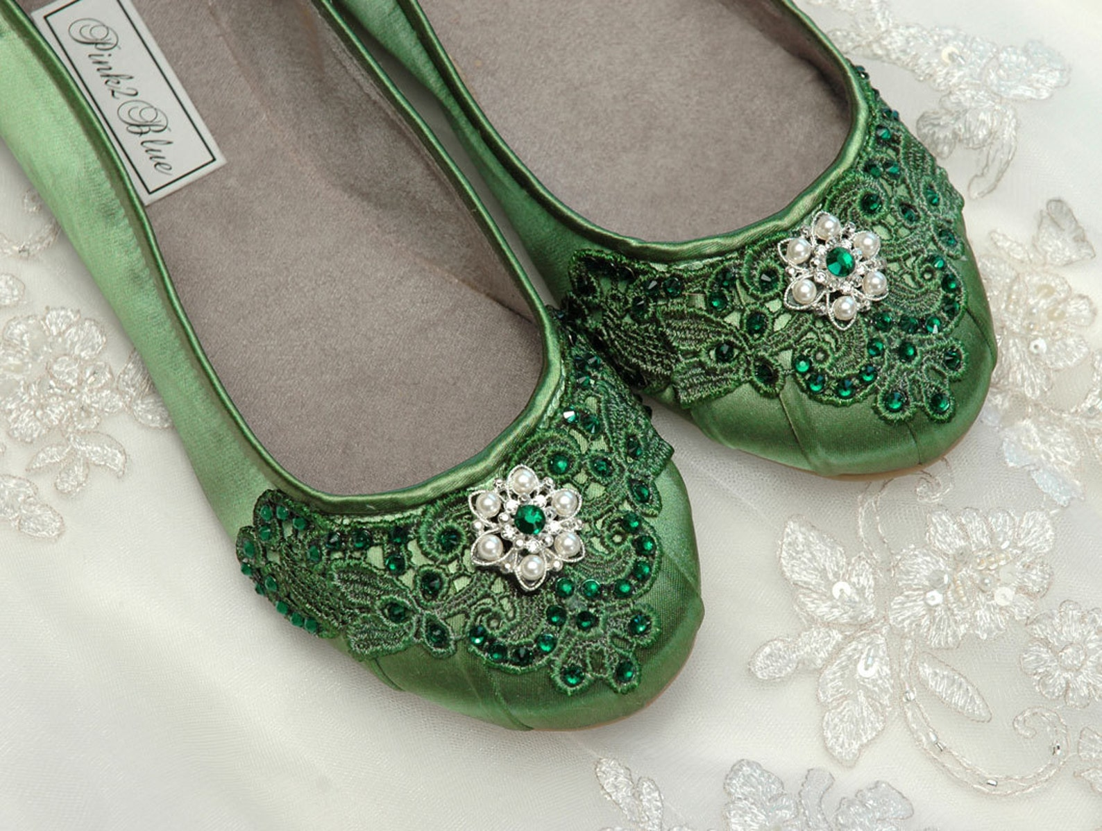 wedding shoes - ballet flats, 250 custom colors, vintage lace, swarovski crystals, belle-women's bridal shoes