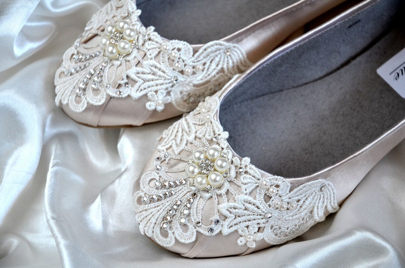 76a78c37125 Wedding Shoes-FREE Custom Colors, Ballet Flats, Bridal, Maid of Honor,  Bridesmaids, Wedding Party, Vintage Lace Women's Embellished Bridal