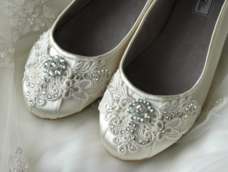 e8033424841 Women's Wedding Shoes- Free Custom Colors- Lace Ballet Flats Bridal Shoes  Vintage Crystal Embellished Bridesmaid, Bridal Party Flat Shoes