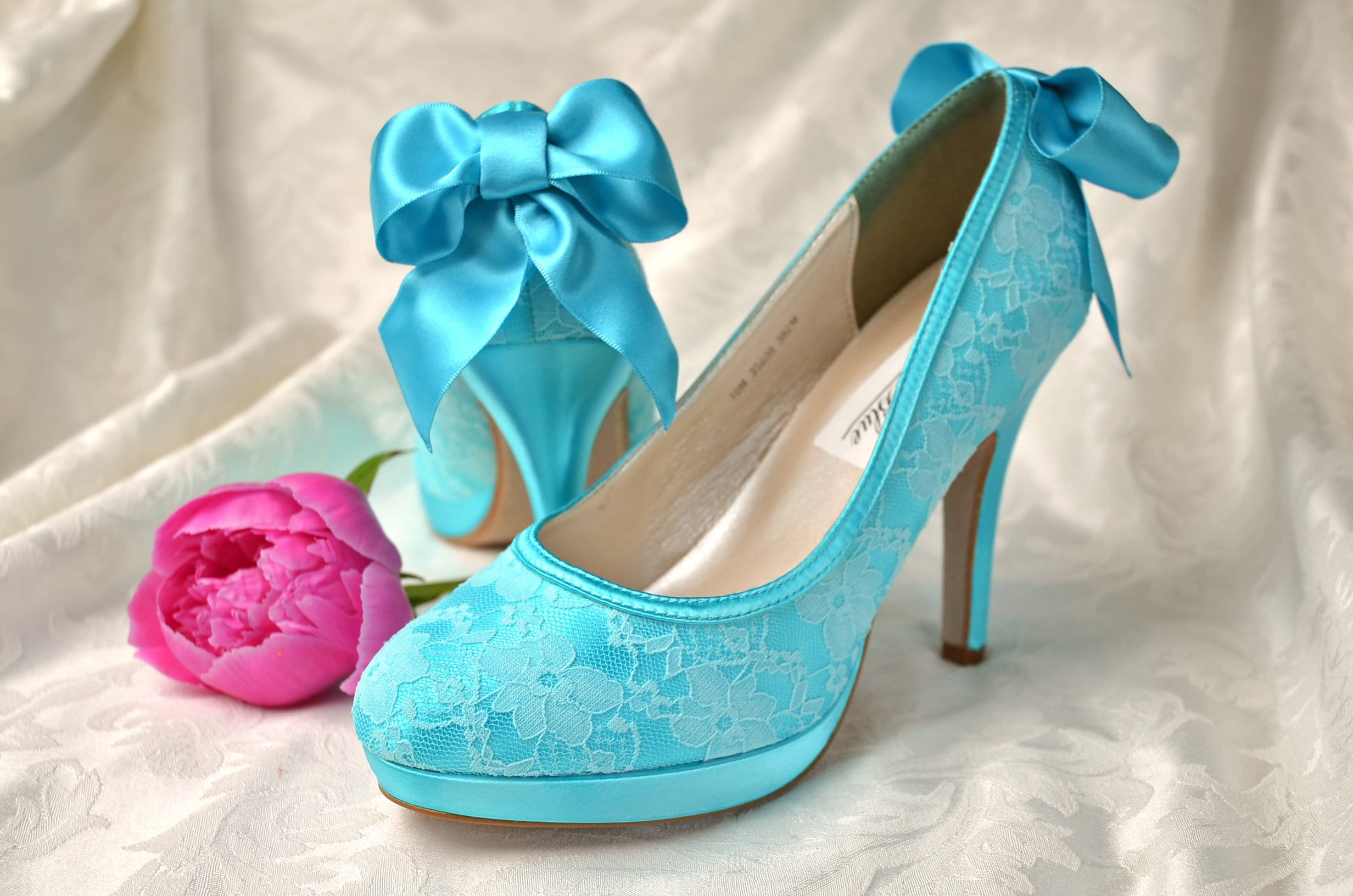 369376f454b Women's Lace Wedding Shoes / FREE Custom Colors / Wedding Shoes With Bows  /Vintage Bridal Shoes- Closed Toe Lace Bridal Shoes, Pink2Blue