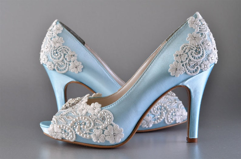 ca1c0d323cc5d Women's Wedding Shoes/ FREE Custom Color Dye/Bridal Shoes/ Vintage Wedding  Lace Peep Toe 3 1/4