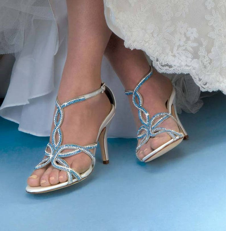 f6fbedf7d1c Wedding Shoes- 250 Custom Colors -Slingback 3 inch high heel, sandal,  Bridal Shoes-Rhinestone Wedding Shoes