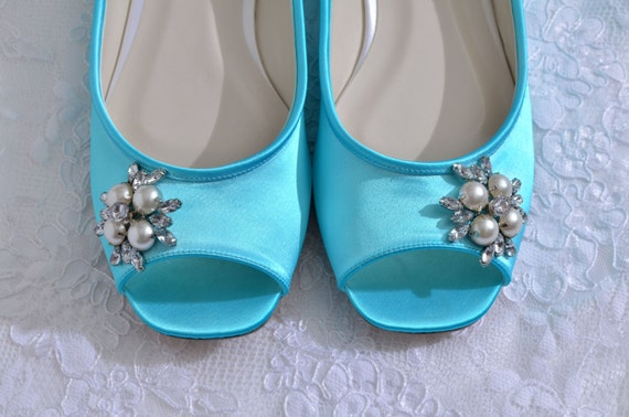 Turquoise Wedding ShoesPink2Blue Bridal Shoes, Every COLOR Wedding ShoeFREE Custom Color ServicePerfect Fit Service  Flat Peep Toe Shoes