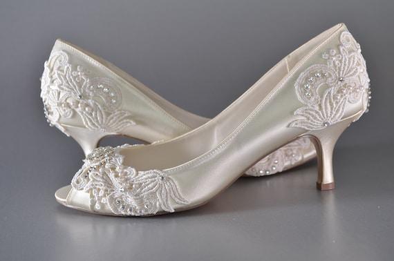 Frau Low Heel Hochzeit Schuhe Frau Vintage Hochzeit Spitze Etsy