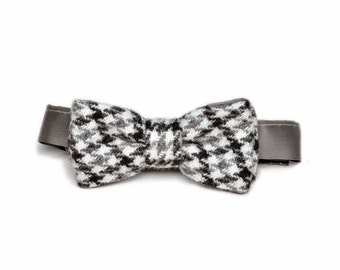 Baby Boy Bow Tie. Baby Shoes/ Booties, Grey Wool Houndstooth. Ring Bearer, Christening, Sporty, Infant,  Handmade by Pink2Blue.