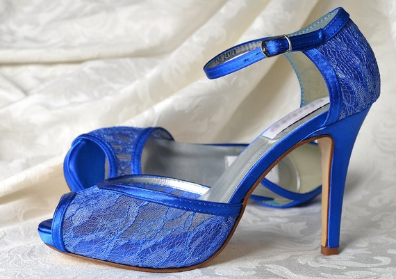 Wedding Shoes Blue Wedding Lace Shoes 3 1 2 Heels  71cbea62cc0
