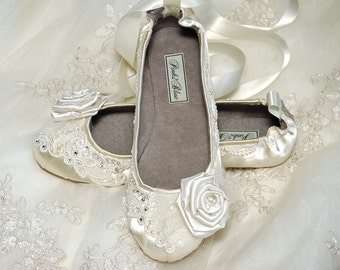 Wedding Shoes - Ballet Flats, Vintage Lace, Swarovski Crystals and Pearls, The Belle- Women's Bridal Shoes