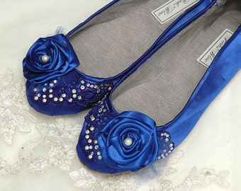 Wedding Shoes - Ballet Flats, Vintage Lace, Swarovski Crystals, 250 Colors, Belle-Women's Bridal Shoes