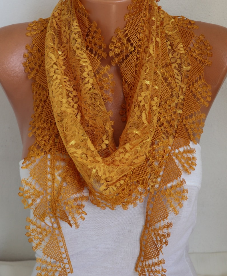 Mustard Lace ScarfSummer Birthday Gift Shawl Scarf Women Scarves Cowl Bridesmaid Ideas For Her Fashion Accessories