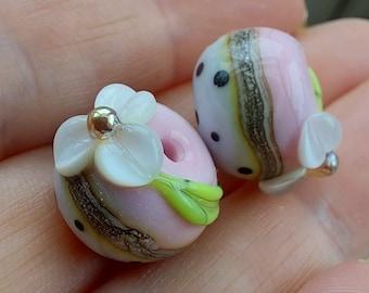 Round Half and Half Polkadot Floral Bead Pair - Lampwork Glass Beads - UKHandmade