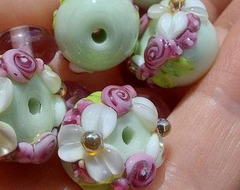 Lampwork Beads /  Daisies / Lampwork Bead Set / SRA / OOAK / jewelry supplies / jewelry making