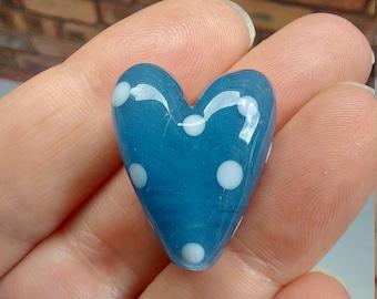 Blue Jeans Polkadot Heart Bead -  handmade lampwork glass heart bead