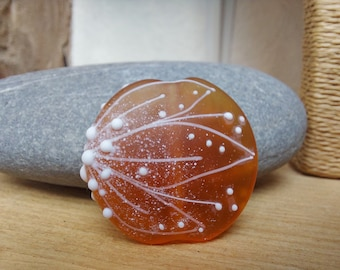 Etched Amber lampwork glass focal bead - beading supplies - jewellery supplies - crafting - ooak