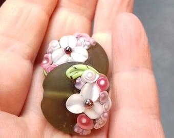 Mojito Spring Bouquet - Lampwork Glass Flower Bead- UK Handmade - pair of beads