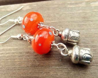 Orange Buddha Earrings - jewellery - handmade - treat for you - uk