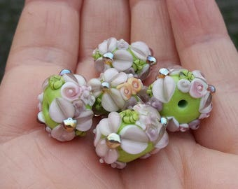 Lampwork Beads /Made To Order / Lampwork Rondelle Bead Set / SRA / OOAK / jewelry supplies / jewelry making