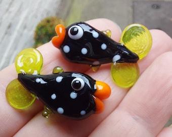 Kissy Fishy bead pair - handmade lampwork glass fish bead