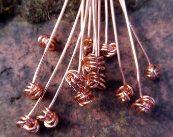Set of 10 Copper Headpins / knotted / 0.8mm / jewellery design / findings / bare copper