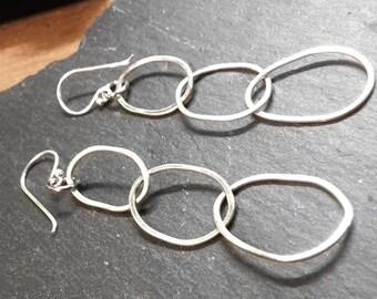 Hammered Irregular Hoop Silver Earrings - uk Handmade