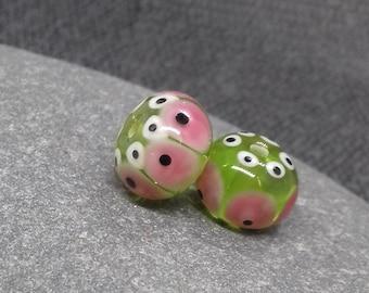 Spring green Fiesta Lampwork Bead Pair - Handmade glass bead - UK Handmade
