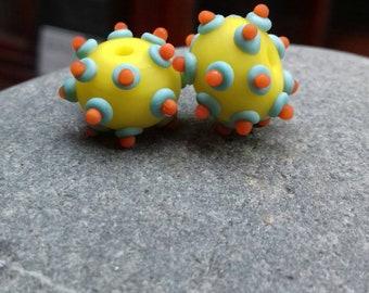 Bright bumpies - handmade lampwork glass beads