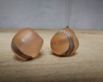 Pair of etched peach lampwork nuggets