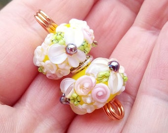 Floral Lampwork Bead Pair / Earring pair / Jewellery design / Jewelry supplies