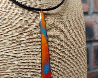 Enamelled Copper Stick Pendant - 18 inch leather necklace - ukhandmade