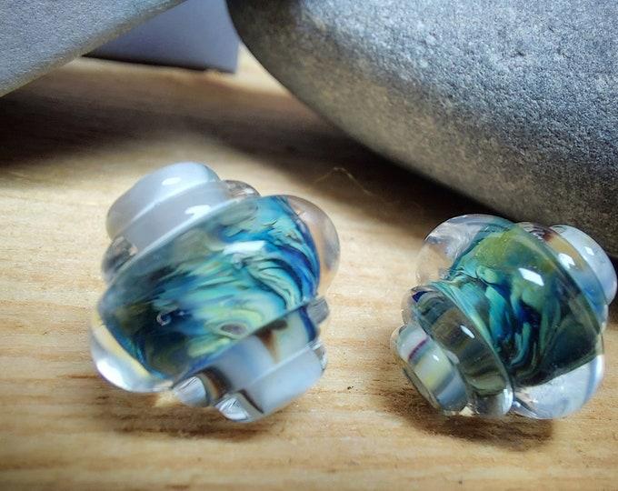 Featured listing image: Earthen Heart Ornate Bead Pair - lampwork glass beads - UK handmade