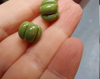 Olive green  pumpkin shaped bead pair - lampwork glass beads - UKhandmade