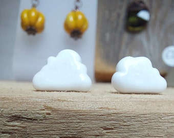 Fluffy White Clouds Glass Earring Studs - Surgical Steel Posts - Hypoallergenic