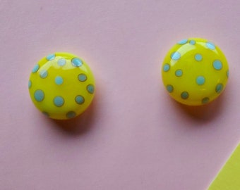 Yellow Polkadot Glass Earring Studs - Surgical Steel Posts - Hypoallergenic