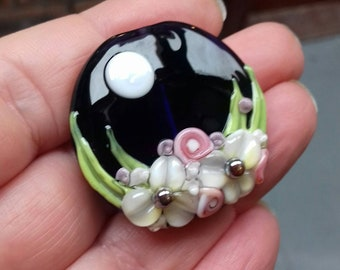 Floral lampwork glass focal bead - Made To Order - jewellery making - UKhandmade