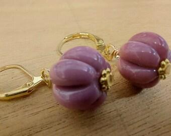 Rustic Raspberry Earrings - Gold Plated - ukhandmade