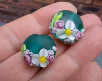 Etched Teal Spring Bouquet - Lampwork Glass Flower Bead- UK Handmade - pair of beads