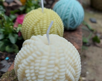 Yarn Ball Candle - Soy candle - Unscented - - knitting - crochet - pastel colours