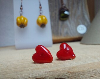Little Loveheart Glass Earring Studs - Surgical Steel Posts - Hypoallergenic