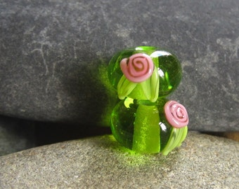Floral earring pair of lampwork beads - Made To Order - SRA -