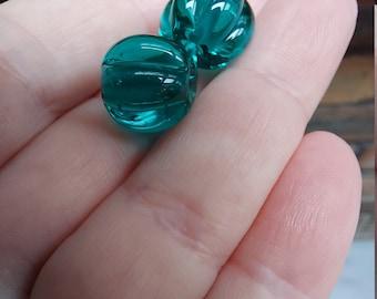 Transparent teal pumpkin shaped beads - lampwork glass beads - UKhandmade