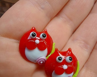 Red Tuxedo kitty bead pair  - Made To Order - lampwork glass beads - UKhandmade