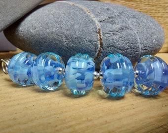 Blue Sky Thinking - Lampwork Glass Bead Set - UK handmade